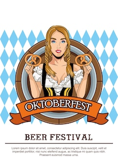 Carte de célébration oktoberfest heureux avec belle femme mangeant des bretzels dans le cadre