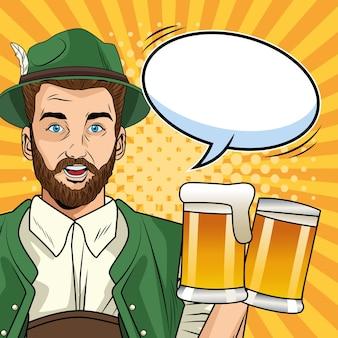 Carte de célébration oktoberfest heureux avec homme allemand, boire des bières