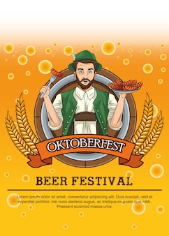 Carte de célébration oktoberfest avec homme allemand mangeant des saucisses