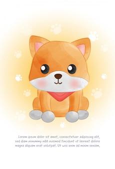 Carte de chien mignon shiba inu dans le style de couleur de l'eau.