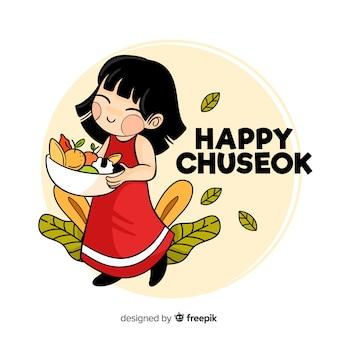 Carte chuseok design plat avec personnage mignon