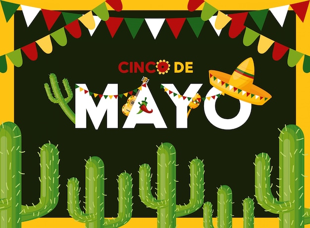 Carte de cinco de mayo avec cactus, illustration du mexique