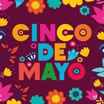 Carte cinco de mayo avec cadre floral