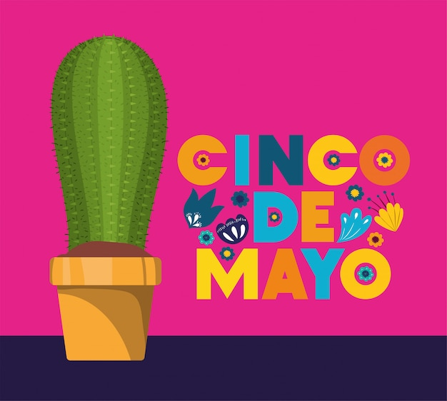 Carte de cinco de mayo avec des fleurs et des cactus