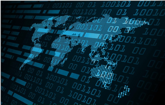 Carte de circuit binaire mondiale future technologie blue hud cyber security concept background