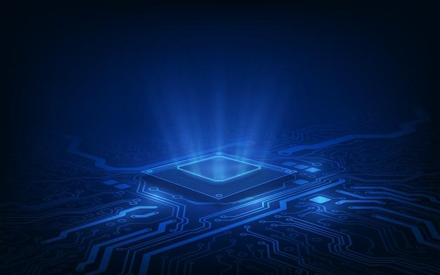 Carte de circuit imprimé de fond de processeur de puce de technologie abstraite