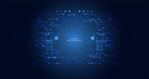 Carte de circuit imprimé numérique cyber technologie abstraite de couleur bleu foncé