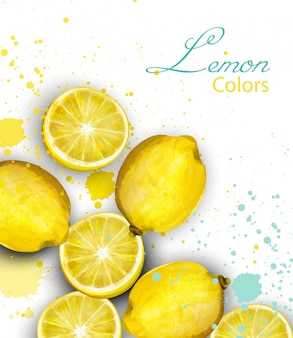 Carte de citrons aquarelle