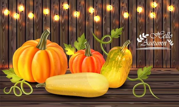 Carte de citrouilles colorée automne