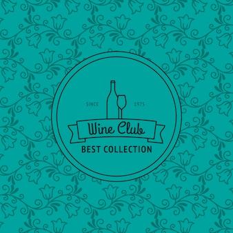 Carte de club de vin avec motif floral