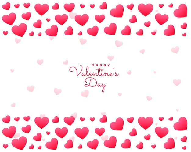 Carte de coeurs saint valentin sur fond blanc