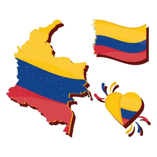 Carte de la colombie avec le drapeau et le coeur