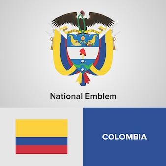 Carte de la colombie, drapeau et emblème national