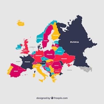 Carte colorée de l'europe