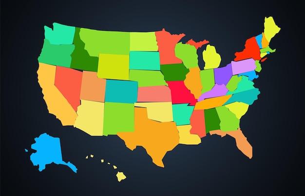 Carte colorée de dessin animé des états-unis d'amérique sur fond sombre
