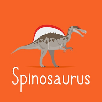 Carte colorée de dinosaure spinosaurus