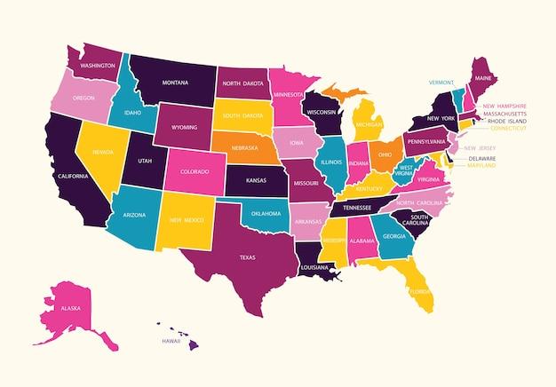 Carte colorée de l'état américain d'amérique.