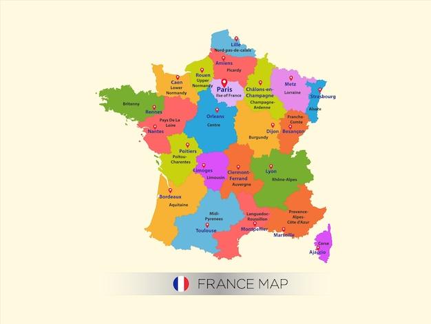 Carte colorée de la france avec la capitale.