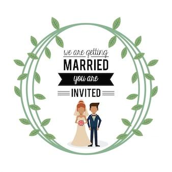Carte colorée de nous nous marions avec un couple