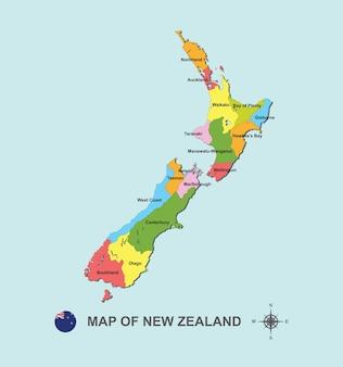Carte colorée de la nouvelle-zélande avec la capitale sur l'illustration vectorielle fond bleu.