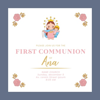 Carte de communion firth avec dessin animé sainte marie