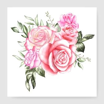 Carte de conception bouquet floral aquarelle