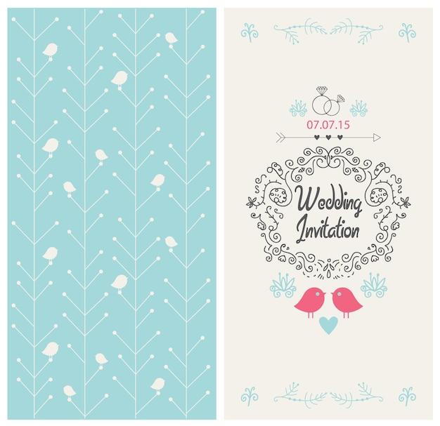 Carte de conception d'invitation de mariage vintage de vecteur avec des oiseaux