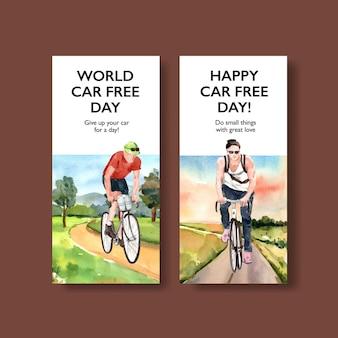 Carte de conception de la journée mondiale sans voiture
