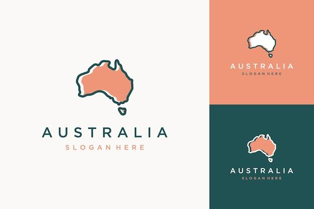 Carte de conception de logo moderne de la région ou de la carte de l'australie