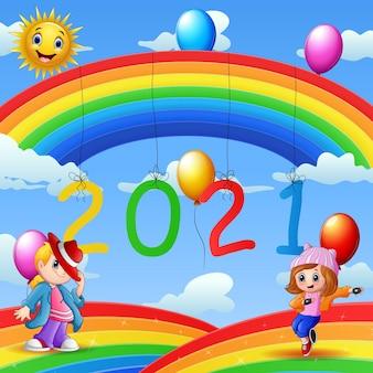 Carte de conception de nouvel an avec des enfants sur fond bleu