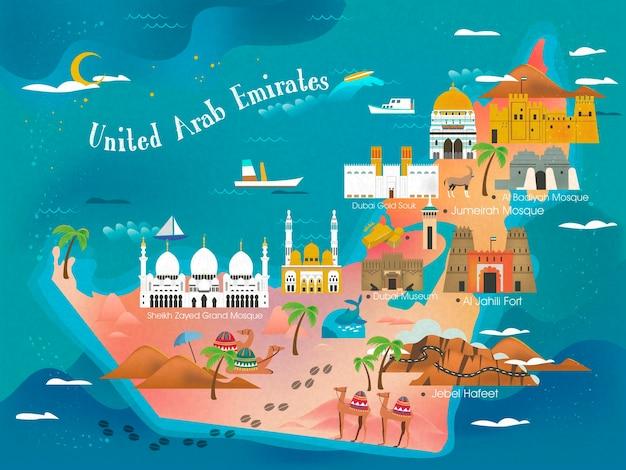Carte conceptuelle de voyage des eau avec attractions et spécialités