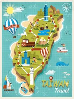 Carte conceptuelle de voyage de taiwan, beaux monuments dans le style