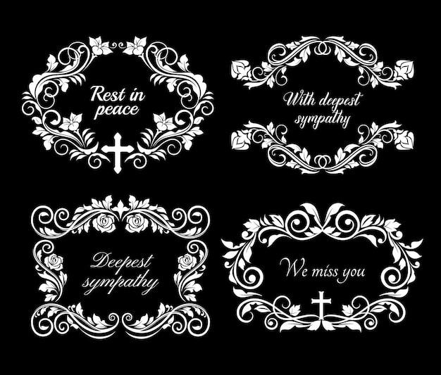 Carte de condoléances funéraires et nécrologiques avec couronne de fleurs et message rip