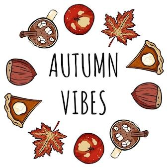 Carte confortable mignonne de couronne décorative de vibes d'automne