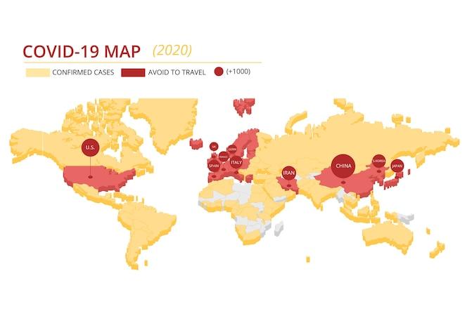 Carte des continents du coronavirus
