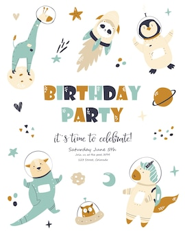 Carte cosmique d'anniversaire avec des animaux mignons. affiche de voeux, modèle d'invitation