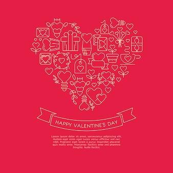 Carte de couleur rouge et blanche avec un cœur gigantesque composé de nombreuses enveloppes similaires, cadeaux, symboles et souhaits avec bonne saint-valentin