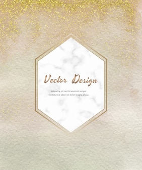 Carte de coup de pinceau aquarelle nue avec des confettis de paillettes d'or et un cadre hexagonal en marbre.