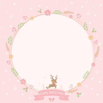 Carte de couronne florale de noël