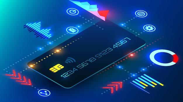 Carte de crédit bancaire avec des éléments d'infographie analyse bancaire en ligne de style cyber futuriste