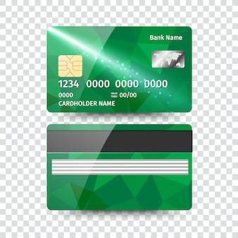 Carte de crédit détaillée réaliste avec un design géométrique abstrait isolé sur fond blanc. illustration
