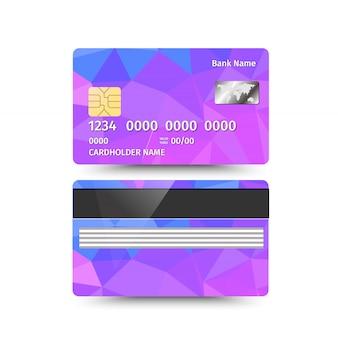 Carte de crédit deux côtés avec dessin abstrait.