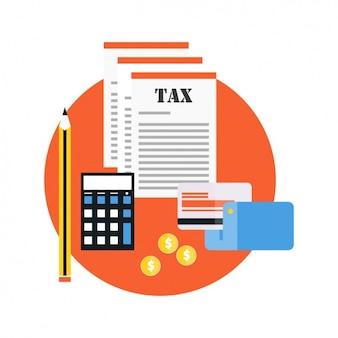 Carte de crédit avec les documents fiscaux
