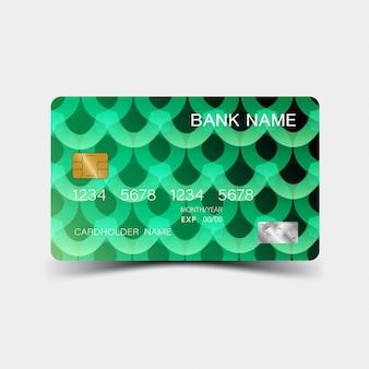 Carte de crédit. avec des éléments verts design. et l'inspiration de l'abstrait.