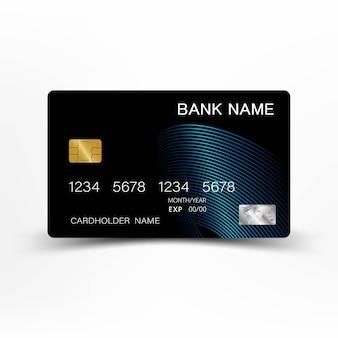 Carte de crédit noire et bleue.