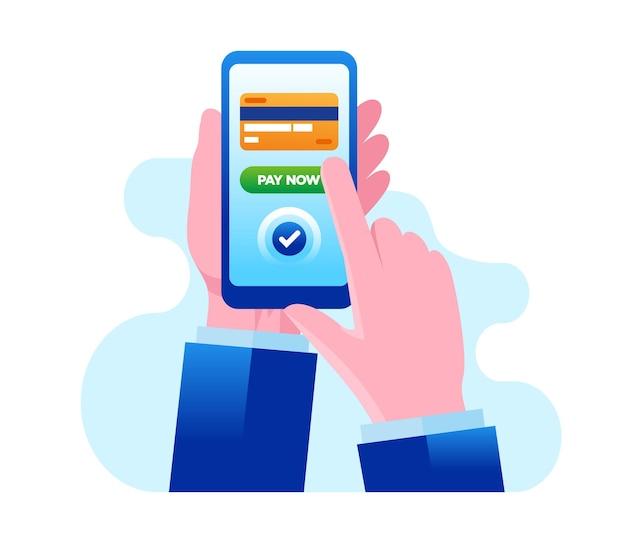 Carte de crédit paiement en ligne bannière d'illustration vectorielle plane