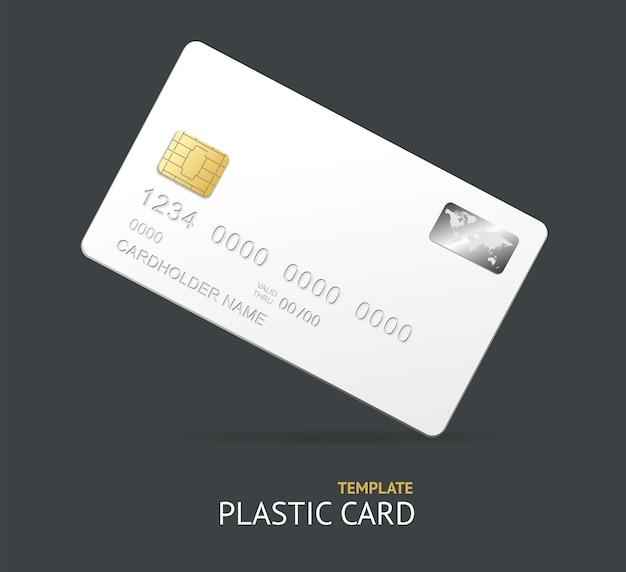 Carte de crédit en plastique blanc avec puce