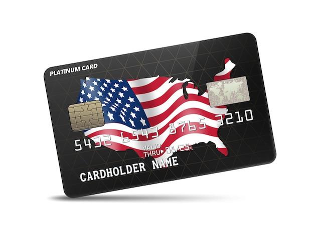 Carte de crédit en platine brillante détaillée avec drapeau et carte des états-unis