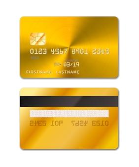 Carte de crédit réaliste doré des deux côtés sur blanc