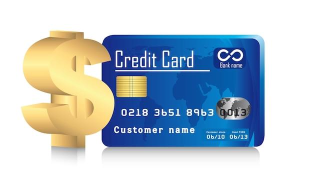 Carte de crédit avec signe dollar or